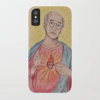 larry david iPhone & iPod Cases featuring Larry David Our Saviour by Laura Francis Design