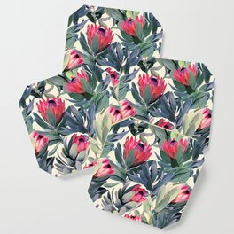 Painted Protea Pattern Coaster