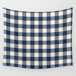 Buffalo Plaid Rustic Lumberjack Blue and White Check Pattern Wall Tapestry
