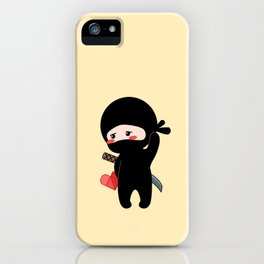 Tiny Ninja Holding Origami Heart iPhone Case