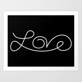 Love calligraphy print - Black background with white Art Print