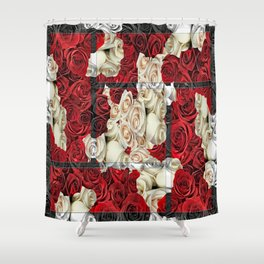 Mono Colored Sweetheart Roses Shower Curtain