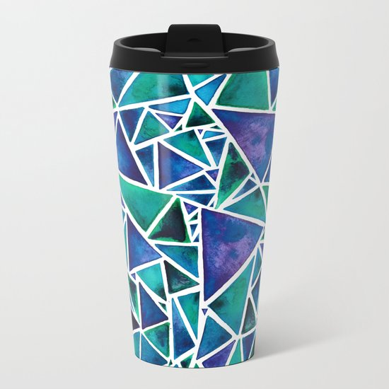 Geometric Turquoise and Blue Triangles Metal Travel Mug