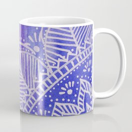 Mandala flower on watercolor background - purple and blue Coffee Mug