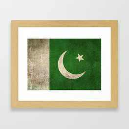 Old and Worn Distressed Vintage Flag of Pakistan Framed Art Print