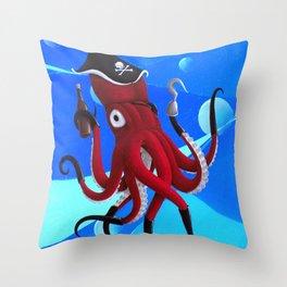 Captain Calamari Throw Pillow