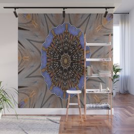 Blue Brown Kaleidoscope Retro Groovy Image Wall Mural