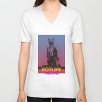 hotline miami V-neck T-shirts featuring HOTLINE MIAMI by Bertrand Nadal