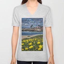 Daisies, Sunset Cliffs, San Diego Unisex V-Neck