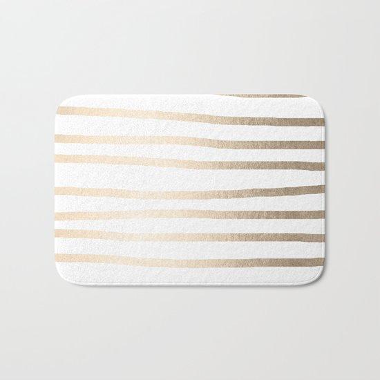 Simply Drawn Stripes in White Gold Sands Bath Mat