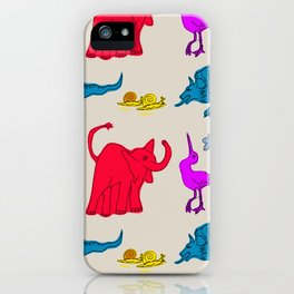 Elephant Print on Neutral Background iPhone Case