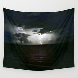 Lightning as It Hits the Water Wall Tapestry