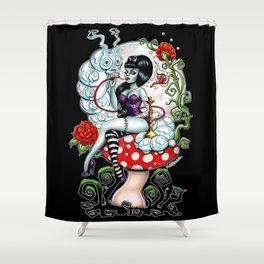 Alice in Zombieland - Schmokin' Caterpillar Shower Curtain