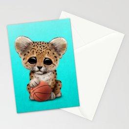 Leopard Cub Playing With Basketball Stationery Cards