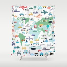 Travel The World Trains Planes Cars Trucks Map Shower Curtain