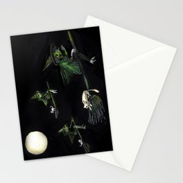 Three Witches on Brooms with the Moon.  Stationery Cards