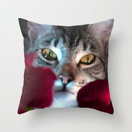 Peeking through the Flowers Throw Pillow