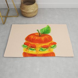Eat Green Love Planet Apple Burger with Kiwi Strawberry Pineapple Cheese Beige BG Rug