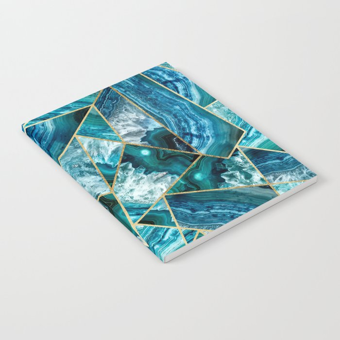 Turquoise Navy Blue Agate Black Gold Geometric Triangles Notebook