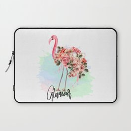 Pink flamingo with roses. Tropical design Laptop Sleeve