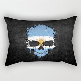 Flag of Argentina on a Chaotic Splatter Skull Rectangular Pillow