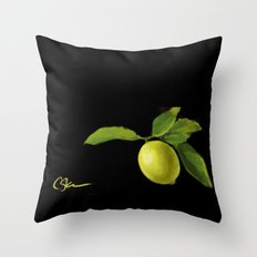 Lemon on Black DP150415a Throw Pillow