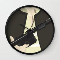 han solo Wall Clocks featuring Han Solo - Starwars by Alex Patterson AKA frigopie76