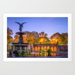 Bethesda Terrace (back) and Bethesda Fountain with its Angel of the Waters statue Art Print