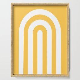 yellow and white retro u stripes Serving Tray