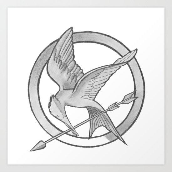 mockingjay symbol art print by vera society6