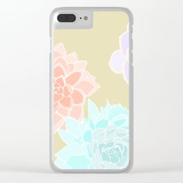 Vintage 3 Colored Succulents Clear iPhone Case