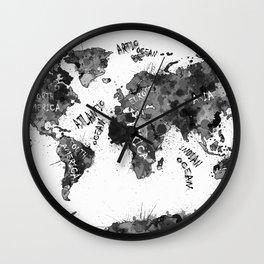 world map color splatter 4 Wall Clock