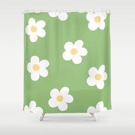 Retro 60's Flower Power Print Shower Curtain