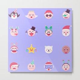 Christmas Emojis Metal Print