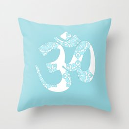 Om Hindi word on blue, floral Throw Pillow