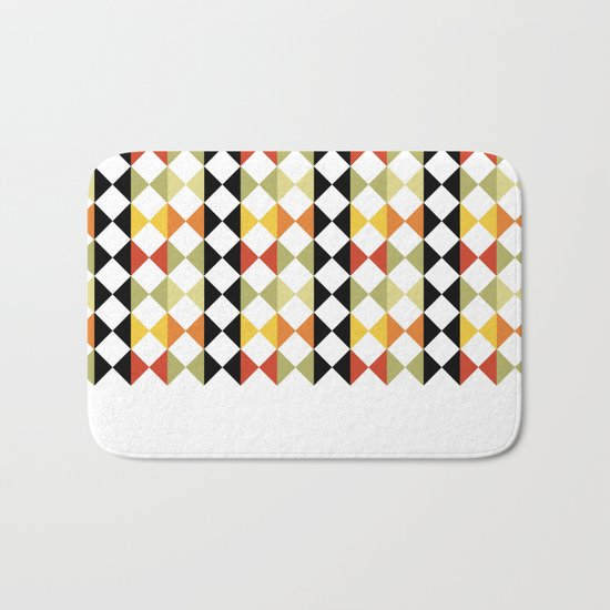 Checker diamond style colorful pattern with black and white Bath Mat
