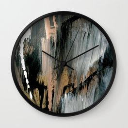 01025: a neutral abstract in gold, black, and white Wall Clock