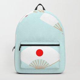 Japan Flag On Japanese Fan Backpack