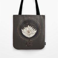 lotus flower Tote Bags featuring Lotus by Hector Mansilla