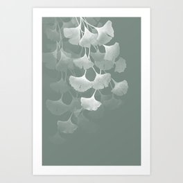 Abstract Watercolor Painting White Ginkgo Leaves - sage green Art Print