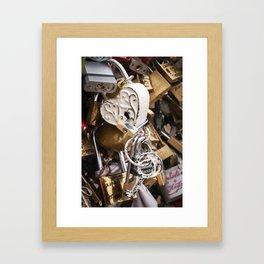 White antique love lock in Paris   Noriko Aizawa Buckles Framed Art Print