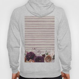 Artistic hand painted burgundy lilac bohemian floral stripes Hoody