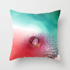 Bellis on red and turquoise Throw Pillow