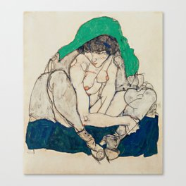 "Egon Schiele ""Crouching Woman with Green Headscarf"" Canvas Print"