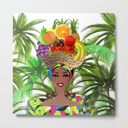 Cuban woman,fruit hat ,tropical,summer art Metal Print