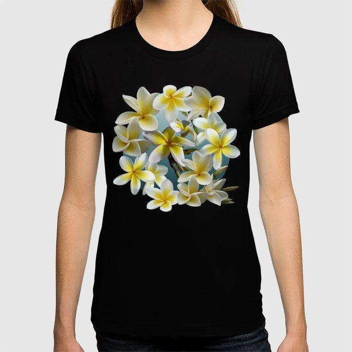 Plumeria on Blue T-shirt