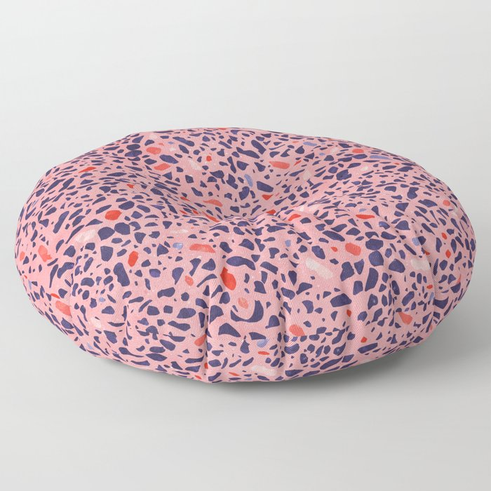 Terrazzo pink red blue Floor Pillow