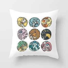Circle of Eevees Throw Pillow