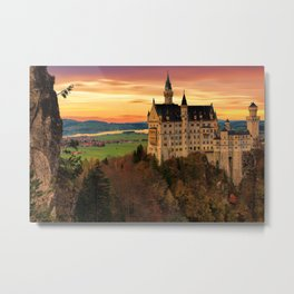 The Castle of Mad King Ludwig, Neuschwanstein Castle, Bavaria, Germany, Autumn color photography / photographs Metal Print