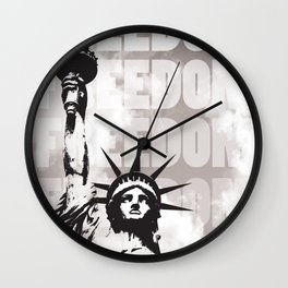 Freedom - White Wall Clock